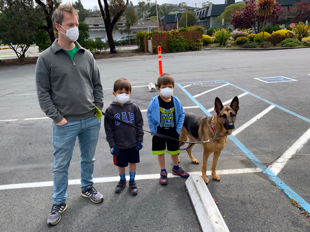 Jeff and kids, dog